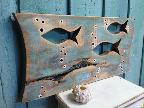 Fish Art Sign Small Panel Horizontal Turquoise by CastawaysHall