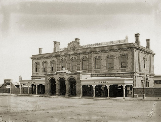 Adelaide Railway Station, North Terrace, ca1878    B 9193    Photographer: Samuel White Sweet.    The first station was built in 1856 and in 1878 a nicely detailed second storey was added to the original station entailing alterations to the original portico. In 1925 the entire station was demolished as it was too small to house all the Railway administrative staff who were scattered around the city.