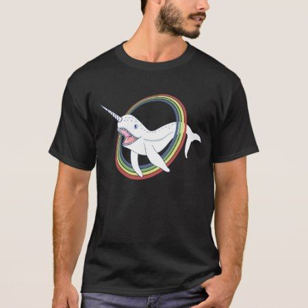 Cute Horn Narwhal With Rainbow Cartoon T-Shirt - click/tap to personalize and buy