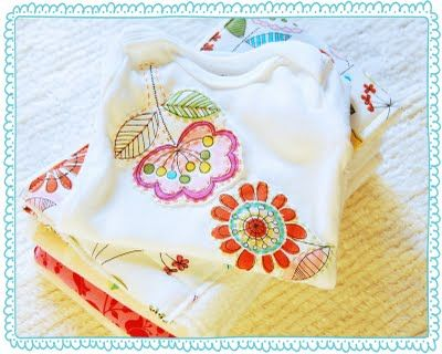 Cute onesies. No sewing machine needed, just iron-on adhesive, a needle and some thread.