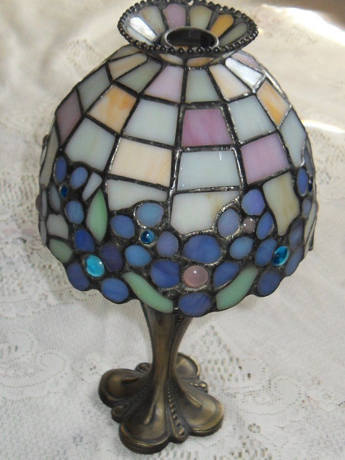 Partylite Floral Stain Glass Antique Brass Tealight Candle