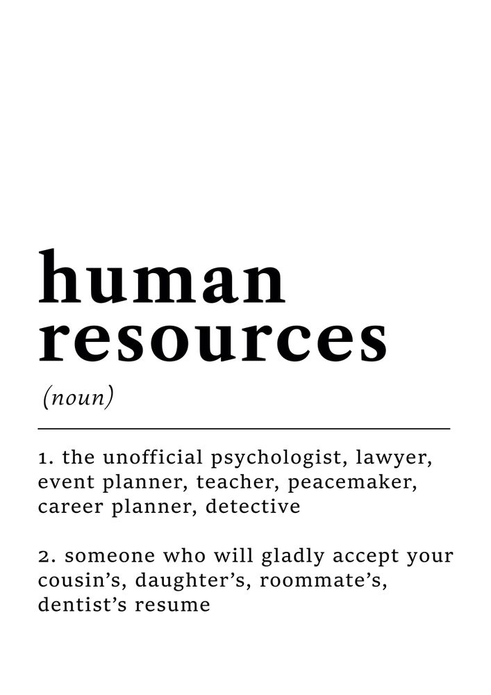 Human Resources Funny Definition Sticker By Ns Prints White 3 X3 Human Resources Humor Human Resources Human Resources Quotes