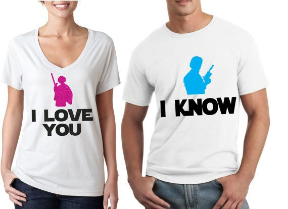 I love you, I know - Star Wars Couple Shirts Theres no better way to show your love for your SO than to wear our matching couple shirts! Womans shirt is an all glitter design on a vneck and mens is a solid design on a tshirt. If you would like different style shirts, please message us! We would love for you to share a picture with us wearing your shine apparel!! ✶✶✶Follow US on IG → https://instagram.com/shine.designs/ and facebook → https://www.facebook.com/shinedesigns.shop where we…
