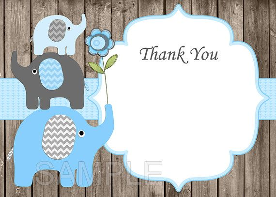 Baby Shower Invitations For Boys Elephant Baby Shower Invitation Printable  Invites Blue (49dw)  Free Thank You Card   Instant Download. Invitaciones De  ...