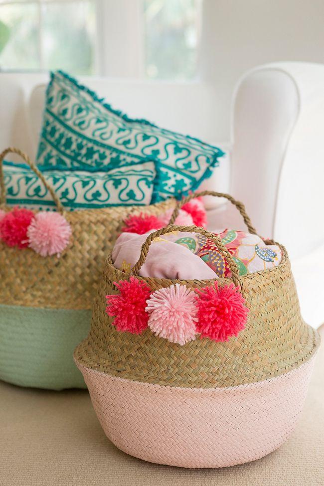 DIY Pom Pom Basket - Coastal Bride