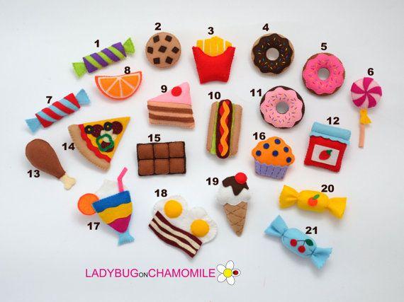 FOOD felt magnets - choose your items - Price per 1 item-sweets magnets, felt cake, candies,felt pizza magnet,jam,cookie,ice cream,donut