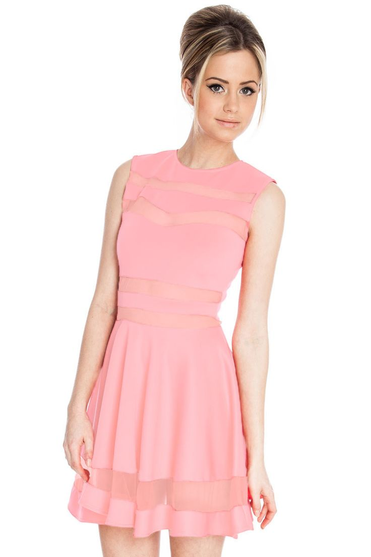 Light Pink Mesh Panel Club Skater Dress