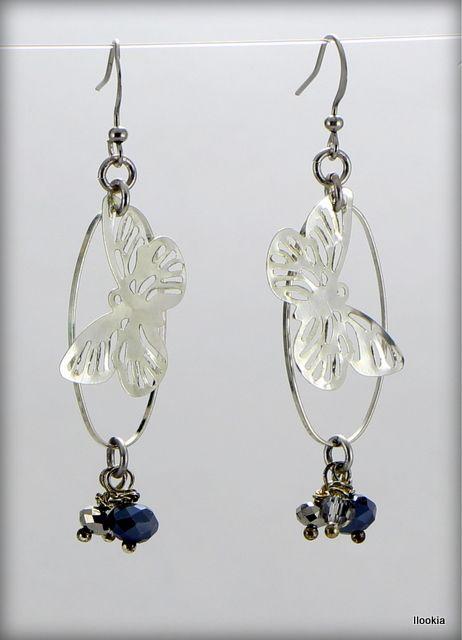 ilookia Boucles d'oreilles papillons et perles