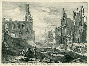 On 13, 14 and 15 August 1695 French troops carried out the first artillery bombardment on a civil population in modern history. This event, known as the Bombardment of Brussels, caused the destruction of a third of the buildings in Brussels.