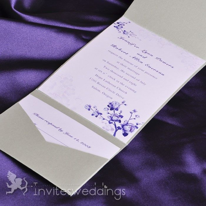 Beautiful Flowers Silver Pocket Wedding Invitations IWPS068