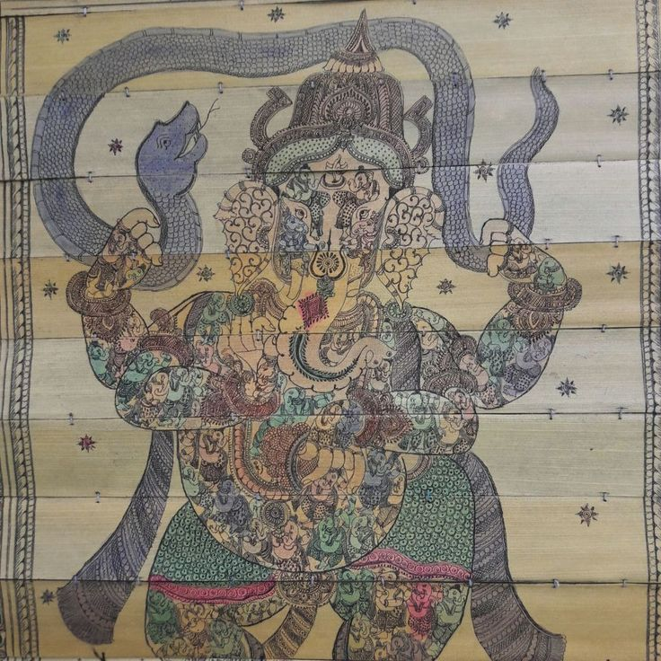 Dancing Ganesha with Snake On Rat - Palm Pattachitra