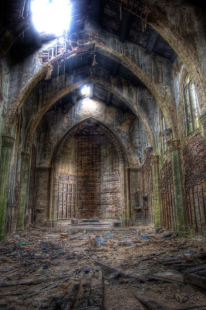 "Ancient rites and lost prayers cease to echo in the halls built by man. Collection plates lost  and rusting beneath rotten floorboards. Somewhere a priest screams,""Where are you now God?"" In the distant a faint whisper grows louder,""It would seem the same place you were."""