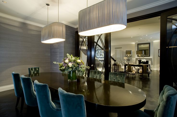 Albyns, Private Residence. Bespoke lozenge shaped pendant lights.