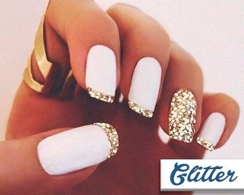 Glitter - 20 Modern French Manicures Ideas - EverAfterGuide