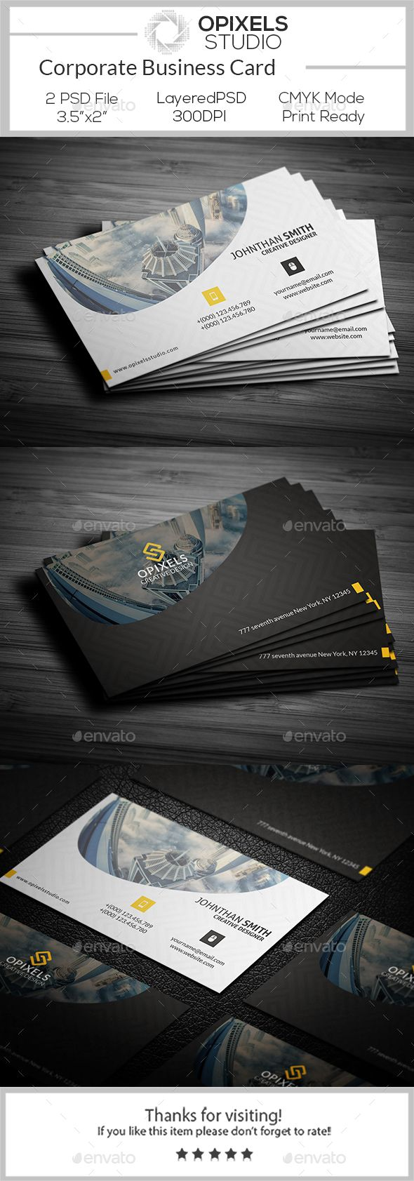 #Corporate #Business Card - Corporate Business #Cards Download here: https://graphicriver.net/item/corporate-business-card/18801989?ref=alena994