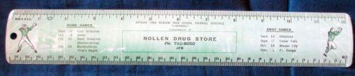 1968 Newton Iowa Football Schedule Ruler Nollen Drug Store | eBay