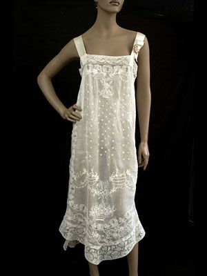 "Boué Soeurs hand-embroidered nightgown trimmed with handmade filet lace, 1920s. Label: ""Boué Soeurs."""