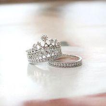 Crystal Rhinestone de la corona anillo para mujer linda elegante de lujo CZ Diamond fiesta de compromiso del anillo del partido(China (Mainland))