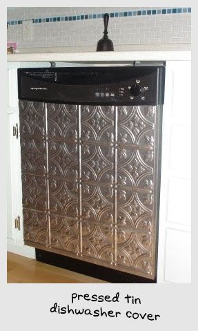 Tin dishwasher cover: Tins Ceilings, Dresses Up, Faux Tins, Ceilings Tile, Ceilings Covers Ideas, Tins Panels, Dishwashers Covers, Tins Tile, Stainless Steel