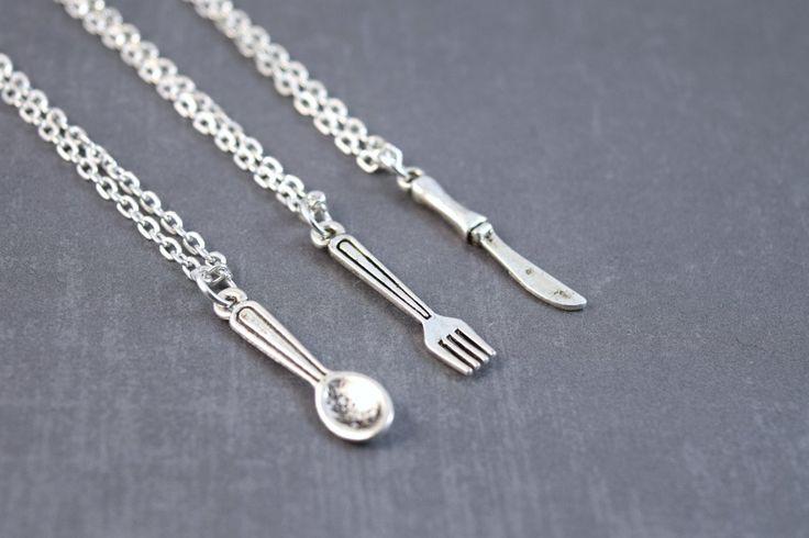 Friendship Necklaces - Silverware Jewelry - Best Friend Friendship Jewelry - 3 Friendship Necklace - Spoon, Fork, Knife by DoodieBear on Etsy https://www.etsy.com/listing/184798239/friendship-necklaces-silverware-jewelry