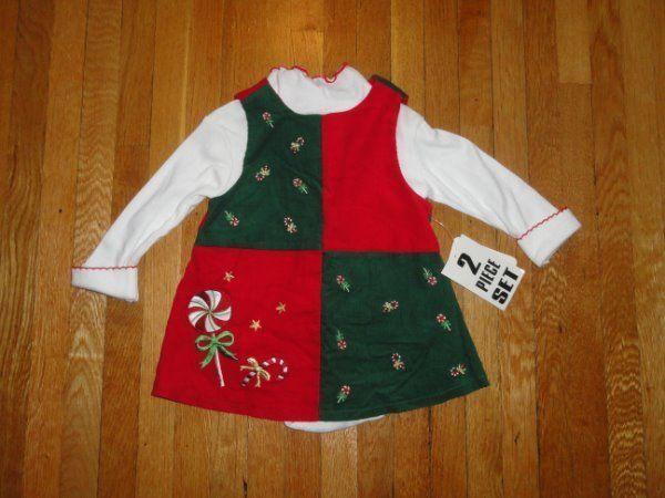 NWTS CHRISTMAS JUMPER DRESS 2 PIECE OUTFIT SET SZ 6-9 MONTHS GIRLS LONG SLEEVE #DressyEverydayHolidayPageantWedding