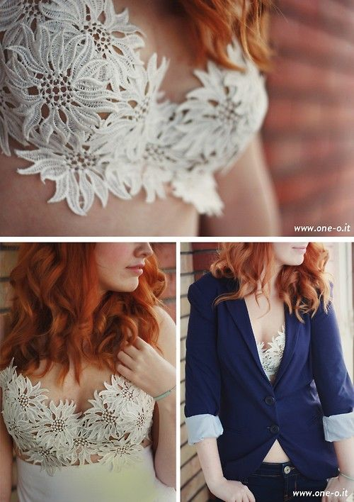 DIY Easy Lace Bra Top Tutorial from One O. Roundup of 4 DIY...: