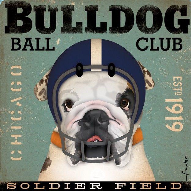 want want want :) English Bulldog Football Club Chicago original graphic illustration artwork on canvas 12 x 12. $80.00, via Etsy.