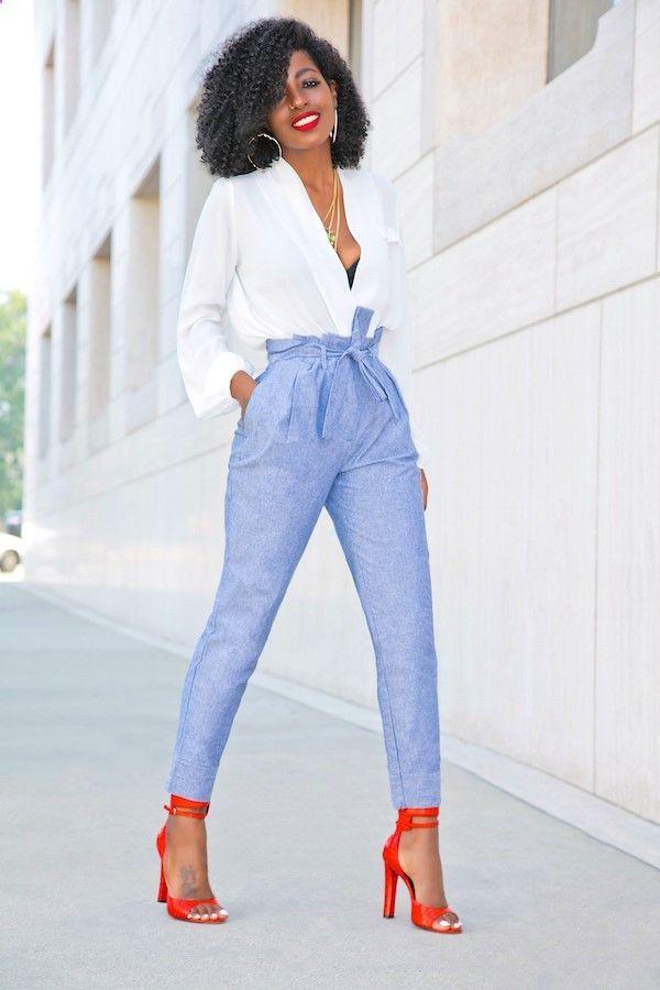 Style Pantry | Draped Long Sleeve Blouse   High Waist Chambray Pants
