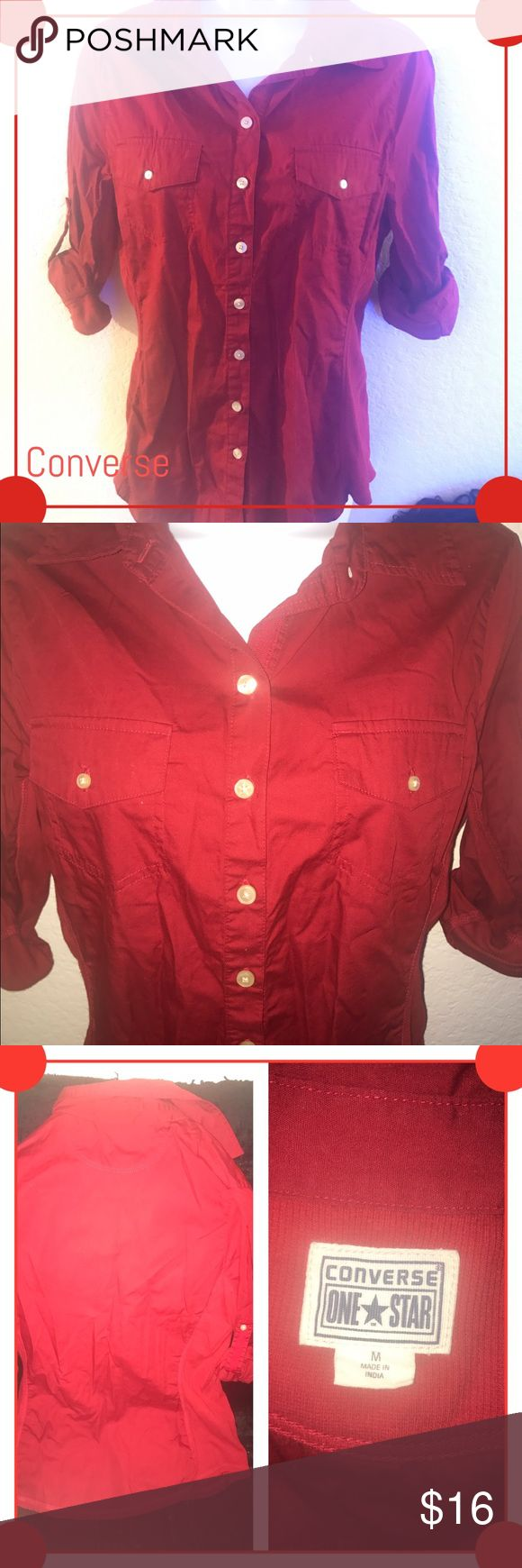 Converse button up women's blouse Red Converse women's button down. Stretchy cotton on side is slimming and makes the shirt very comfortable. Size medium. Converse Tops Button Down Shirts