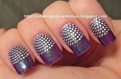Purple Shimmer Polish with Silver Studs on Half-Moons