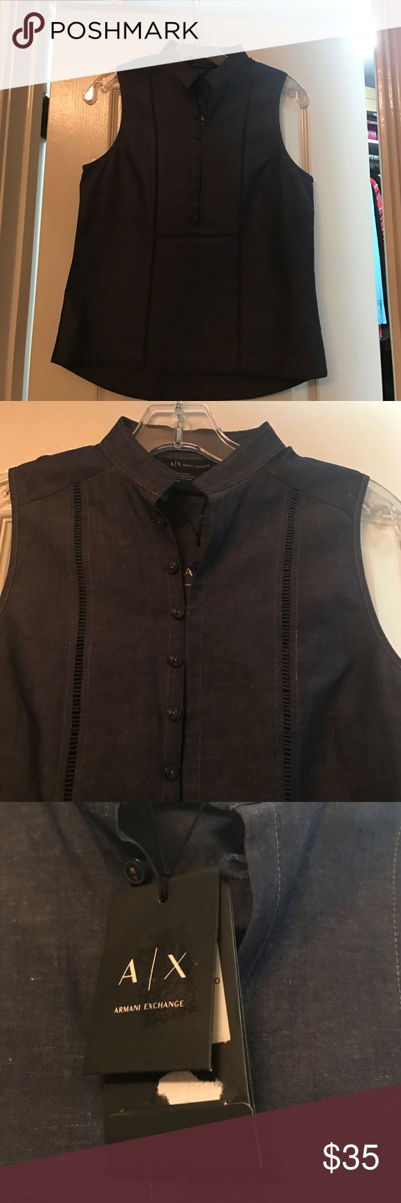 NWT ARMANI EXCHANGE DENIM TOP! NWT Armani Exchange denim sleeveless top!! Working buttons down the front! Beautiful detail on the front and back! A very beautiful piece to add to your spring/summer wardrobe!! A/X Armani Exchange Tops