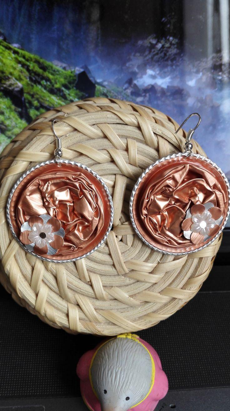Boucles d'oreilles pendantes originales capsules Nespresso couleur rose orangées , romantique motifs fleurs : Boucles d'oreille par…