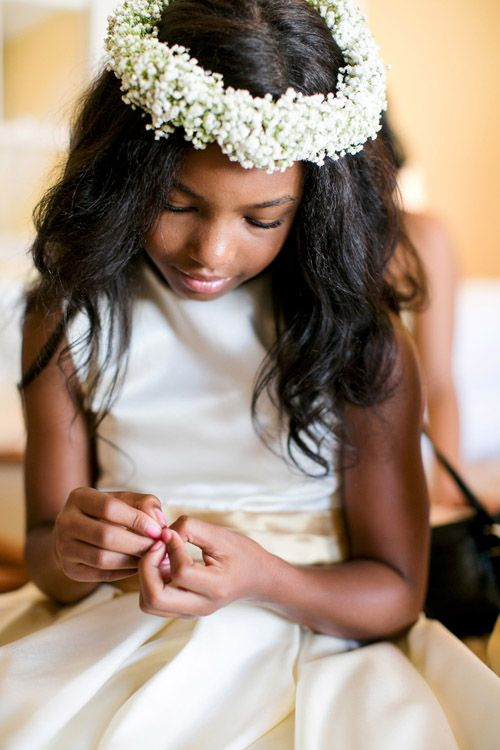 Sweet flower girl photo at Newport, Rhode Island wedding photographed by Mikhail Glabets Photography | via junebugweddings.com