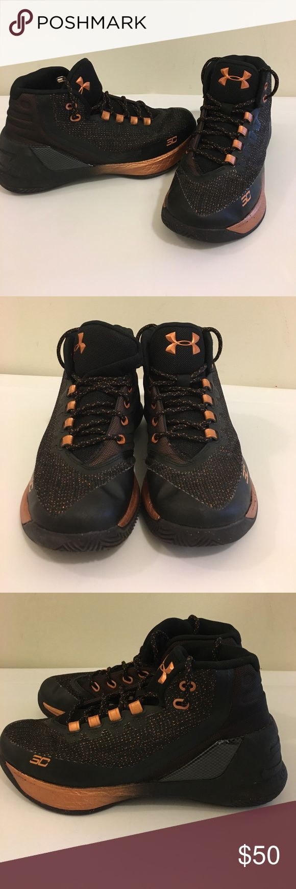 Steph Curry size 6-1/2 under armour Worn couple times in like new condition big boys size 6-1/2 black and rose gold steph curry edition under armor basketball shoes. Come from pet and smoke free home Under Armour Shoes Sneakers
