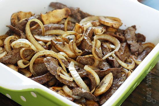 Quick Skillet Steak with Onions and Mushrooms   Skinnytaste  Can also use for steak sandwiches!