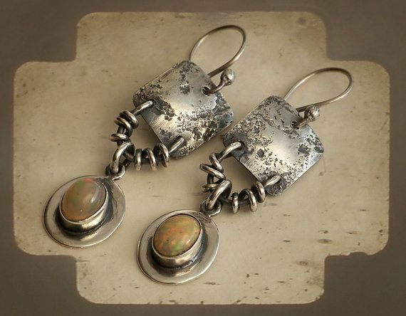 Primitive Rustic Sterling Silver Earrings by PrivateRoad on Etsy