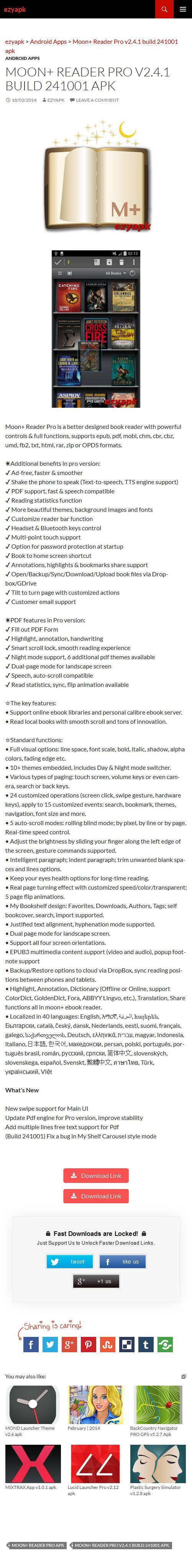 Android Apps Moon+ Reader Pro v2.4.1 build 241001 apk - ezyapk Moon+ Reader Pro is a better book reader with powerful controls & full functions, supports epub, pdf, mobi, chm, cbr, cbz, umd, fb2, txt, html, rar, etc. http://www.ezyapk.com/android-apps/moon-reader-pro-v2-4-1-build-241001-apk/