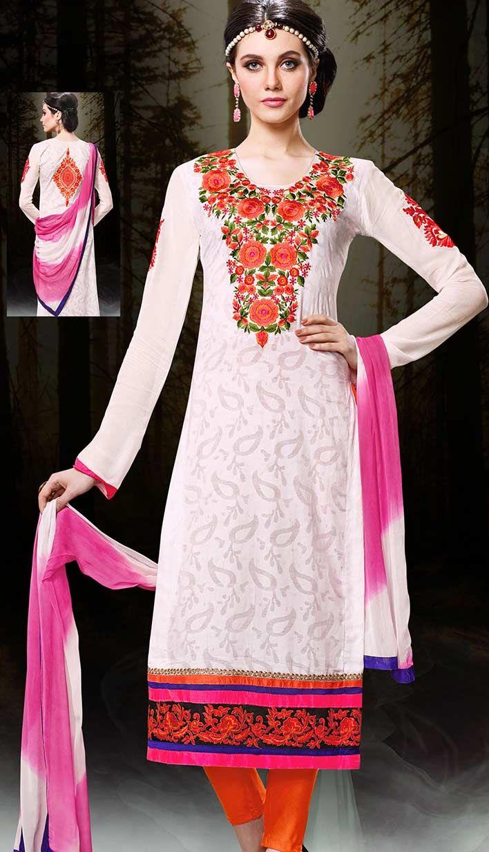 Get Latest Festival Ethnic Off White Chanderi Cotton Churidar Kameez #PakistaniDresses Online  #Price INR- 3494 Link- http://alturl.com/ovfwi