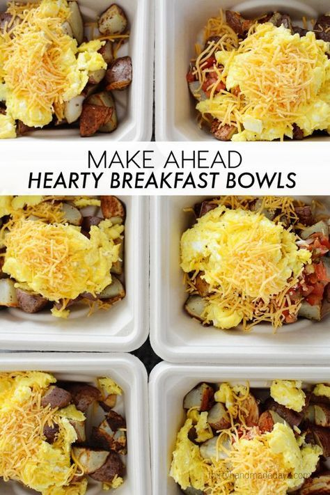 These make ahead hearty breakfast bowls are perfect for when mom goes out of town or quick on the go breakfast. | www.thirtyhandmadedays.com