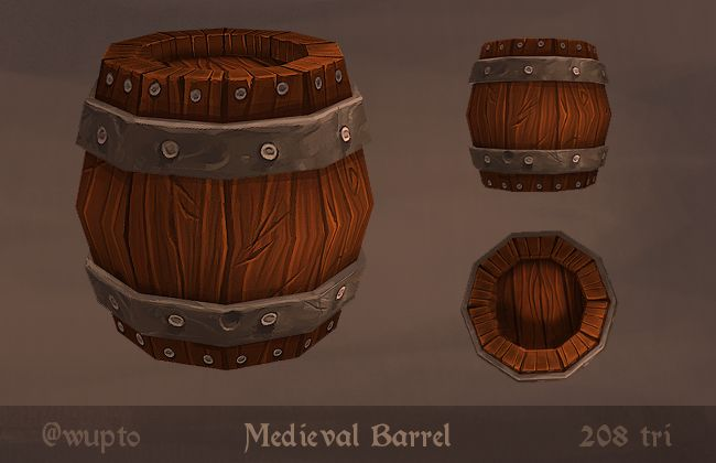 Medieval Barrel - Hand Painted Low Poly by wupto.deviantart.com on @deviantART