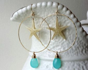 Starfish Hoop Earrings Sea Glass Earrings by BellaAnelaJewelry