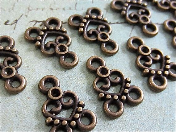 22.5 CENTS EACH ~ $2.25 FOR10 (15L/11Wmm) ~~  Fancy Heart Antique bronze Connectors - Filagree (ABHFL) ~~ steampunkjunksupply