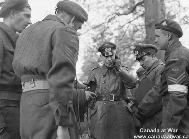 The Netherlands - German officer discusses surrender arrangements on radio phone…