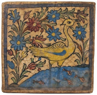 Persian tile with a heavy glaze: a garden setting with a stork in a pond of water.    1800s