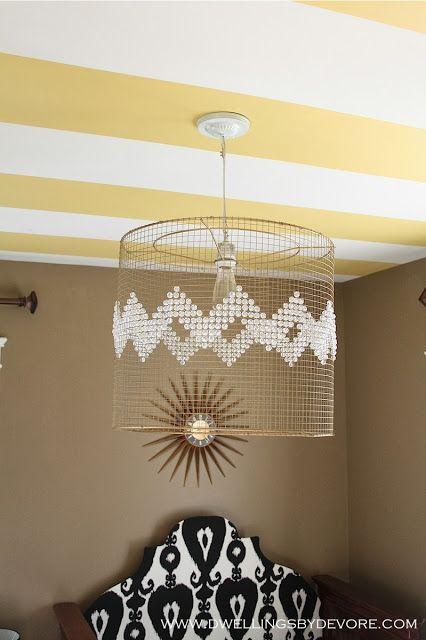 DIY chevron light fixture, so easy and inexpensive!