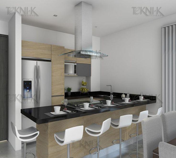 Cocina en Chaimblaisa con detalles en cristal y gris y cubierta en granito San Gabriel  Cocinas cubierta negra  Kitchen remodel Kitchen y Home