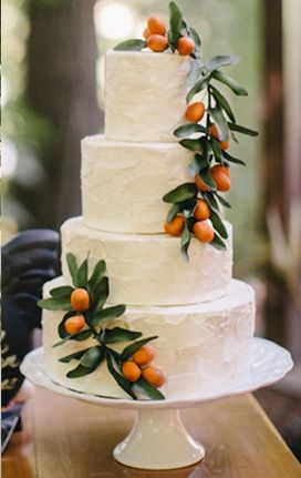 Garnish a simple white tiered wedding cake with colorful fruit.