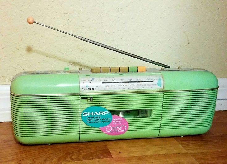 VTG SHARP QT-50 LIME STEREO AM FM RADIO CASSETTE TAPE PLAYER RECORDER BOOMBOX!!!