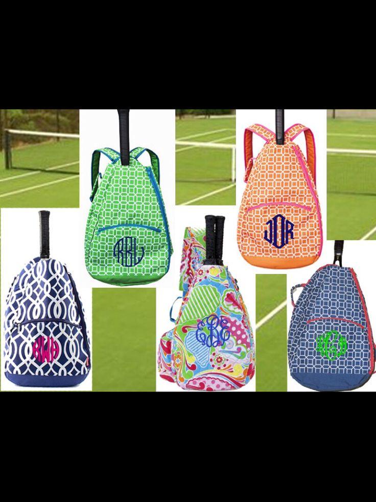 Monogrammed tennis bags  misslucysmonograms.com I sooooooo want one for Christmas!!!