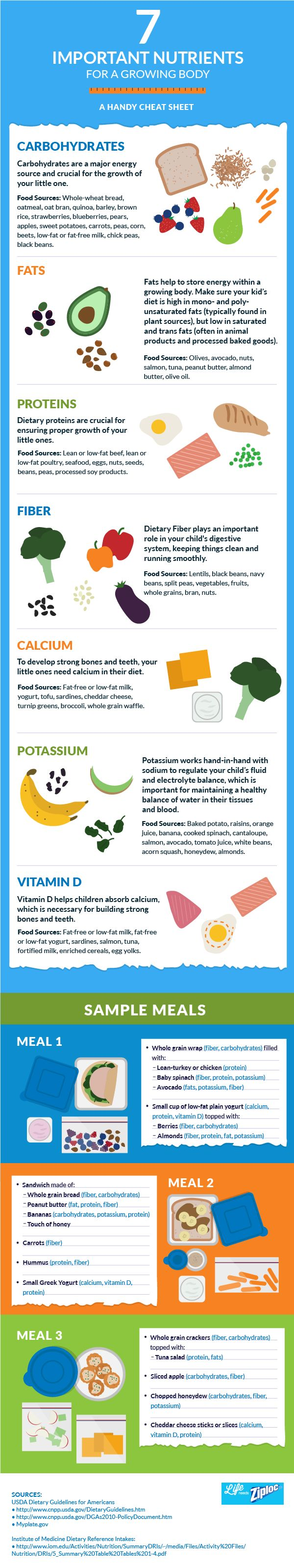 7 Important Nutrients For Growing Bodies: A Handy Cheat Sheet